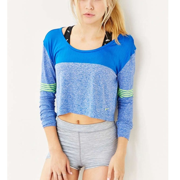 b3561436b20521 Nike Tops | Blue Green Epic Knit Long Sleeve Crop Top | Poshmark